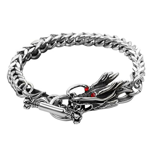 (Bikers Stainless Steel Curb Chain Gothic Cool Dragon Bangle Cuff Link Bracelet with Toggle Clasp,Silver and Black Tone,8.9 Inches)