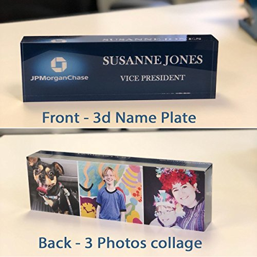 Desk Name Plate Personalized Name, Title & Logo + 3 Photos Collage on Premium Clear Acrylic Glass Block Custom Office Desk Nameplate Unique Customized Dual Use Appreciation Gift ()