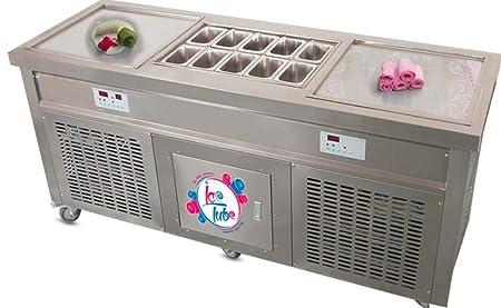 Máquina de helado avalancha con 2 placas en nevera para la ...