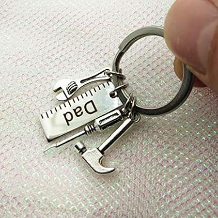 Lega Regalo per Compleanno Dad Portachiavi Serie Lumanuby 1 X Mini Chiave Inglese e Martello Ciondolo Auto Portachiavi Lega con Dad o Grandpa Etichetta 5.0x2.5cm ca