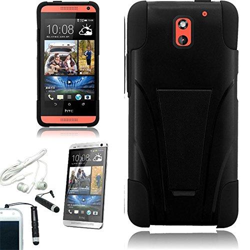 [ARENA] BLACK HYBRID SLANT STAND COVER HARD GEL CASE for HTC DESIRE 612 VERIZON + FREE ARENA ACCESSORIES (Htc Desire 612 Gel Phone Cases)