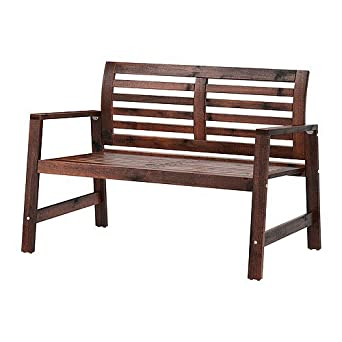 Super Amazon Com Ikea Bench With Backrest Outdoor Brown Squirreltailoven Fun Painted Chair Ideas Images Squirreltailovenorg