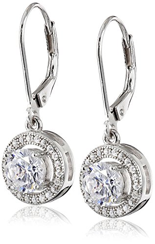 Classic White Lever (925 Sterling Silver 10mm Pave and White AAA Cubic Zirconia Leverback Earrings (1.9 cttw))