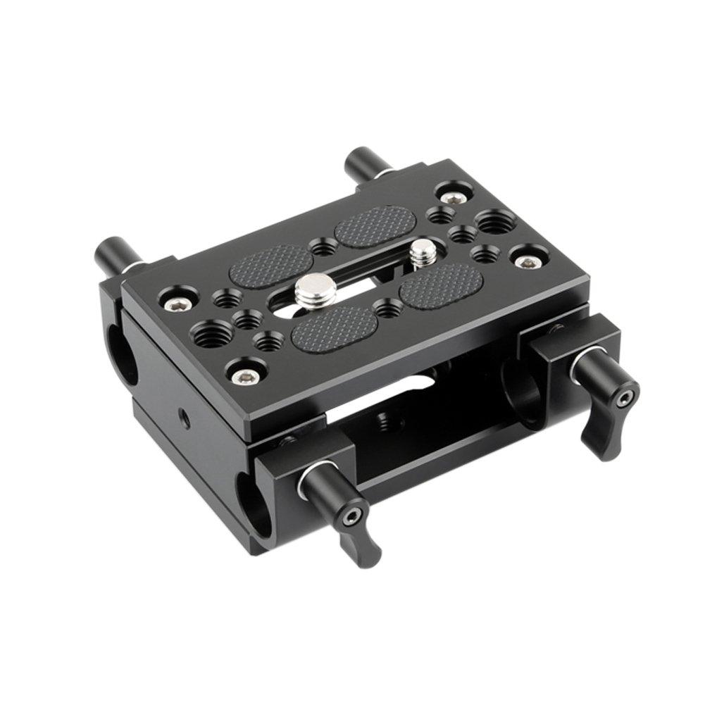 NICEYRIG Shoulder Support Camera Baseplate with 15mm Rod Clamp Railblock for Rod Support/DSLR Rig Cage by NICEYRIG