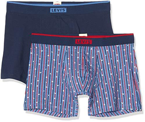 Levi's Herren Levis Men Logo Stripe AOP Boxer Brief 2p Boxershorts (2er Pack)