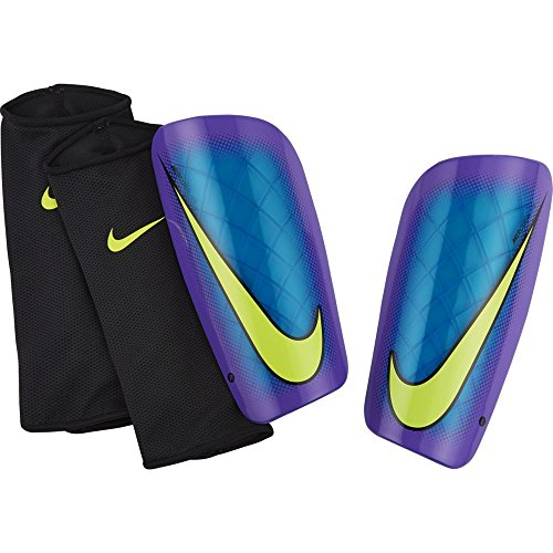 Nike Mercurial Lite - Espinillera, color azul y negro Azul / Morado / Lima (Blue Lagoon/Hyper Grape/(Volt))