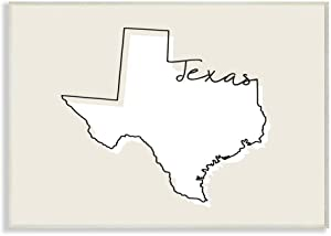 Stupell Industries Texas Home State Map Neutral Print Design Wall Plaque, 12 x 18, Multi-Color