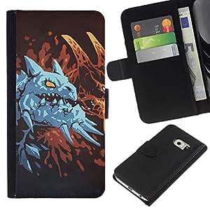 // PHONE CASE GIFT // Moda Estuche Funda de Cuero Billetera Tarjeta de crédito dinero bolsa Cubierta de proteccion Caso Samsung Galaxy S6 EDGE / Blue Dragon /