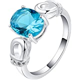 Charm Blue Gemstone 18KT Gold Plated CZ Wedding Engagement Band Ring WelcomeShop (7)