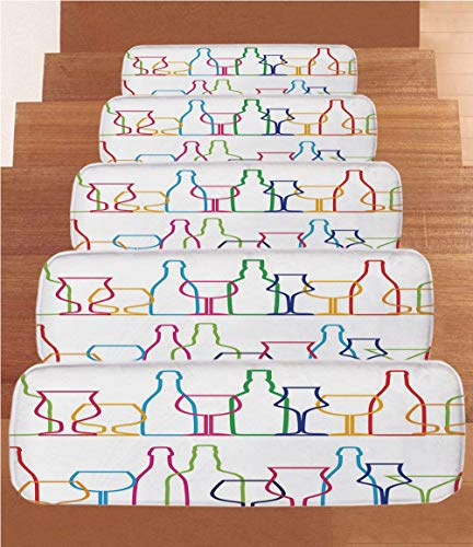 (SoSung Wine Coral Fleece Stair Treads,Stair Tread Mats,Colorful Outline Bottles and Glasses Bar Party Drink Cocktails Modern Fun Collection Decorative,(Set of 5) 8.6