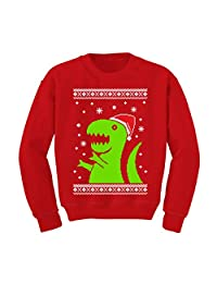 TeeStars - Big Green Trex Santa Ugly Christmas Sweater - Funny Kids Sweatshirt