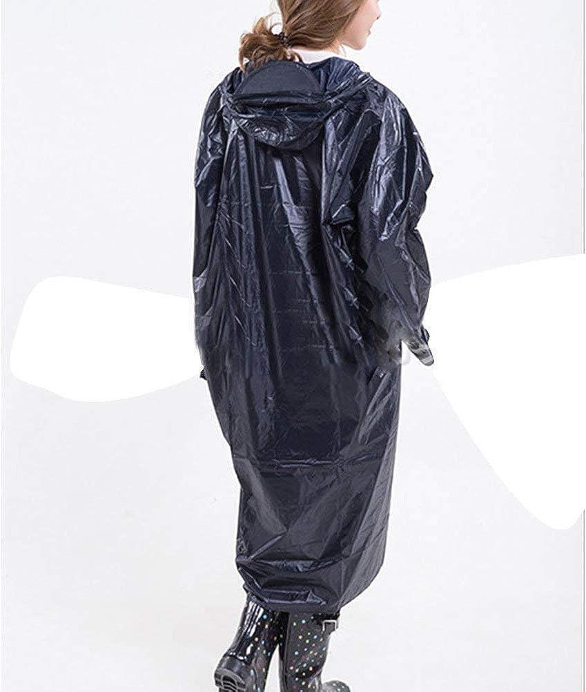 Camminata All'Aperto per Adulti Lungo Tratto Impermeabile Festa di Moda Style con Cappuccio Impermeabile Impermeabile Tinta Unita Impermeabile da Pioggia Navy Blue
