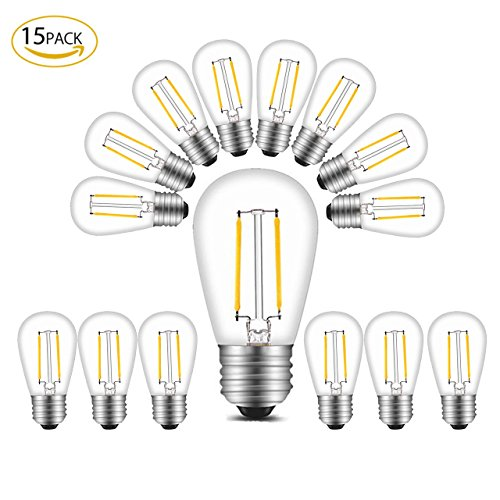 BRTLX S14 LED Edison Filament Bulb 2W Warm White 2700K 11W Incandescent Equivalent for Outdoor Commercial Grade String Lights Hanging Sockets Replacement Bulb Pack of - Light Pack Bulbs