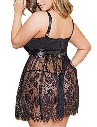 ohyeahlady Femme Nuisette Babydolls Lingerie Robe en Dentelle Floral Vêtement de Nuit Pyjamas avec Bretelle Transparente…