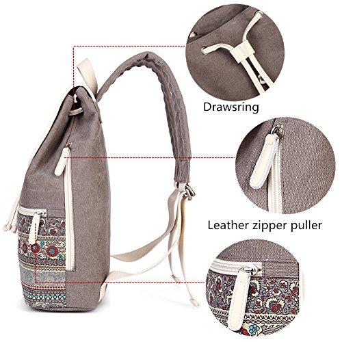 Casual Backpack Purse for Women,Canvas School Backpack Shoulder Bag Large Capacity Rucksack Bookbag fit Womens girls Ladies Travel Daypack by BTOOP (Image #3)