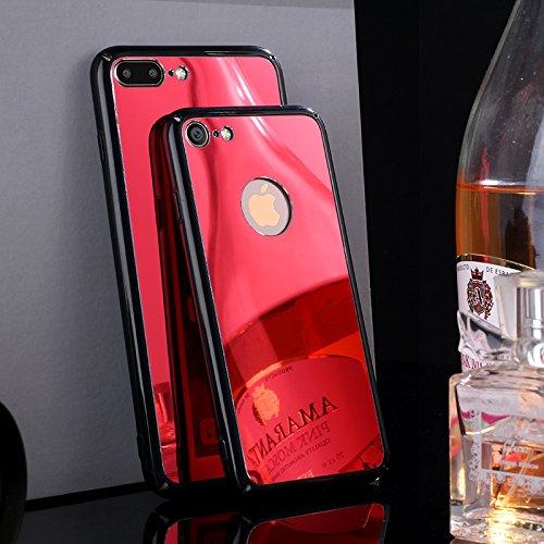 Funda iPhone 7,SainCat Moda Alta Calidad de PC Material de Acrílico Funda Carcasa Caso Parachoques para Carcasas Flexible Ultra Delgado Ligero Case Cover Caja Shock Absorción Anti Rasguños Anti Choque Rojo