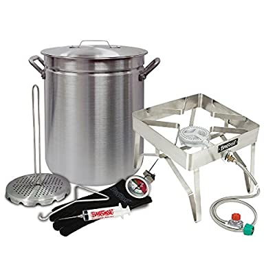 "Deep Fryer ""GRAND GOBBLER"" Turkey Kit for Oversized Birds (25+ LBS Turkeys) by Bayou Classic 42 Quart Aluminum Stockpot and Stainless Steel Burner"