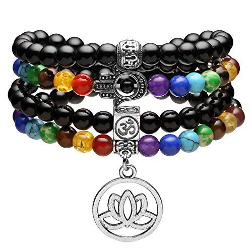 Jovivi 108 Mala Prayer Beads Bracelet Necklace, Natural Black Obsidian 7 Chakra Multilayer Healing Crystals Yoga Stretch Bracelets with Lotus Flower Charm for Meditation