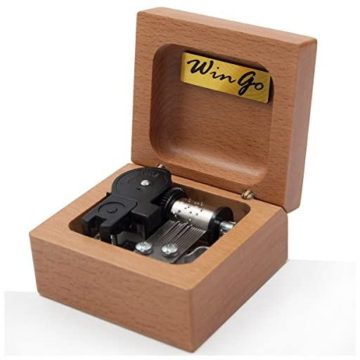 Mini 18 note wind-up Beech Wooden Music Box Tune of You Are My Sunshine For Christmas/Birthday/Valentine's day