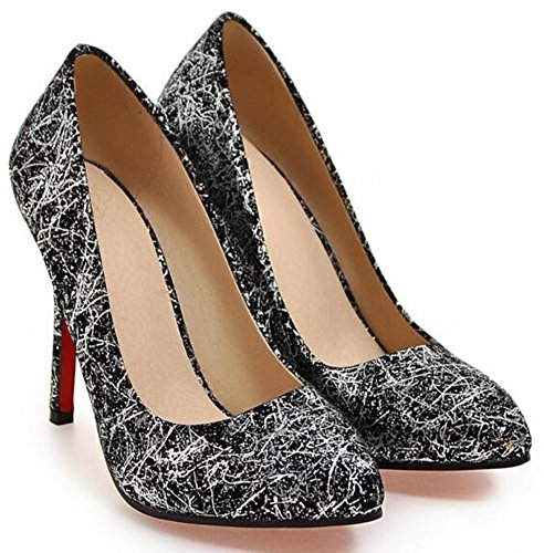 Idifu Femmes Mode Haute Talons Aiguilles Bas Top Slip Sur Bout Bout Pointu  Imprimé Chaussures Chaussures ... 9afed9f6f344