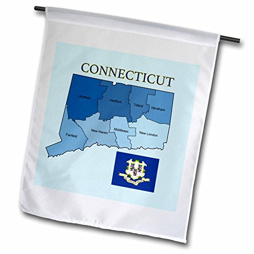3dRose fl_173431_1 Flag and Map of The State of Connecticut with Counties Labeled Garden Flag, 12 by 18-Inch
