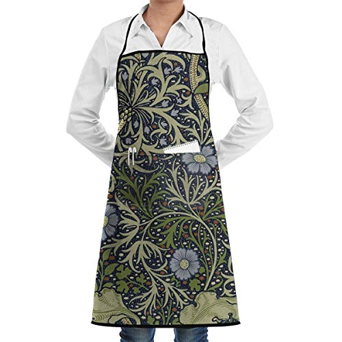LALACO-Design William Morris Seaweed Pattern Cooking Women Kicthen Bib Aprons with Pockets for Chef,Grandma Suitable for Baking,Grilling,Painting Even Fit for Arts,Holiday