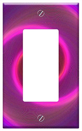 Switch Plate Single Rocker/GFCI - Pink Background Neon Neon Light Spiral Swirl ()