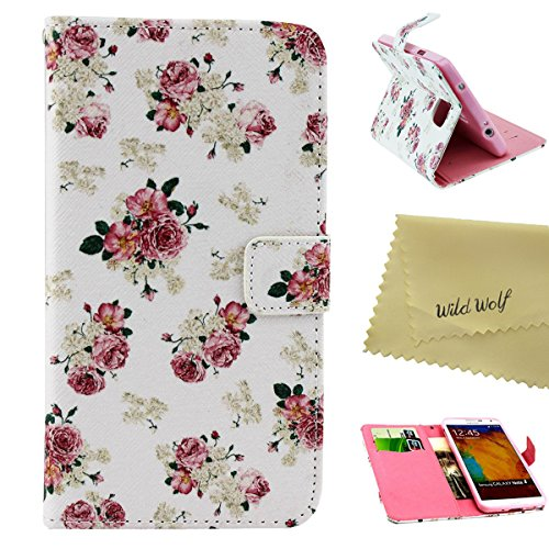 Samsung Galaxy note 4 Case, Wild Wolf, Fashion Style Type, Magnet Design, Stand Card Holder, PU Leather, Colorful Wallet, Folio Flip Cover Case for Samsung Galaxy note 4(2014) (Flower 1)