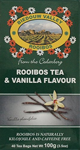 Rooibos & Vanilla Flavor: 40 Bag Count 3.5oz. 100% Natural Original S. African Healthy Herbal Tea. Caffeine and Calorie Free, Antioxidant & Mineral Rich. Grown At High Altitude in Natural Habitat. by Biedouw Valley Rooibos