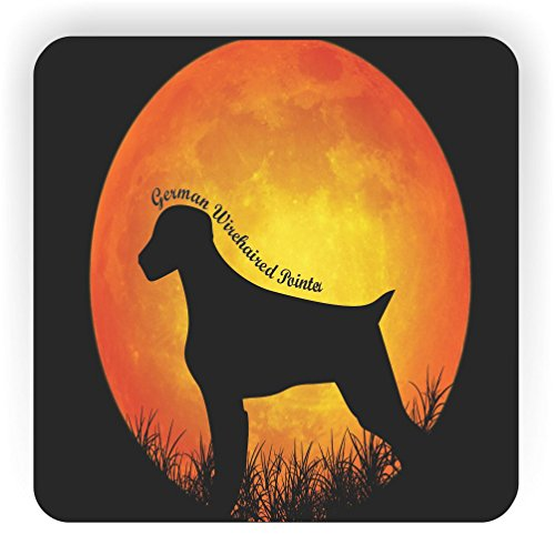 Rikki Knight German Wirehaired Pointer Dog Silhouette By Moon Design Square Fridge Magnet (Dog Silhouette Magnet)