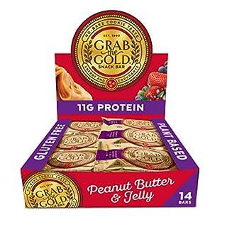 Vegan Snack Bars by Grab The Gold - Organic, Gluten Free, Vegan, Kosher, Dairy Free – 2.0 Oz – Peanut Butter & Jelly (14 Count)
