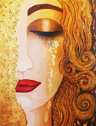 DIY 5D Diamond Painting by Number Kits, Crystal Rhinestone Diamond Embroidery Paintings Pictures Arts Craft for Home Wall Decor,Charming Lady 16x24 Inch