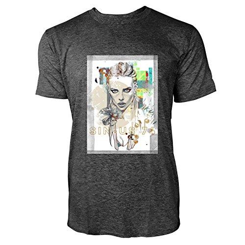 SINUS ART® Abstrakte Collage mit Blondine und Blumen Herren T-Shirts in dunkelgrau Fun Shirt mit tollen Aufdruck
