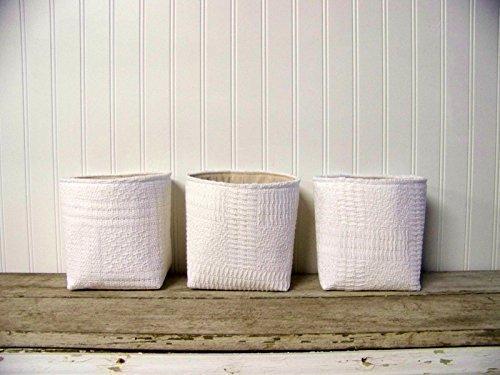 Set of 3 Re-purposed Vintage Blanket baskets