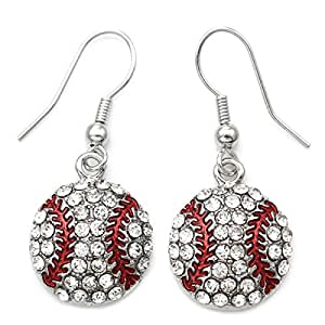 SoulBreezeCollection Baseball Dangle Earrings Sport Earrings Clear Rhinestones Fashion Jewelry