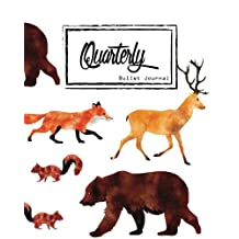 """Bullet Journal: Dot Grid, Quarterly Guided,Wild Animal Fox Bear Deer Squirrel,Composition Notebook, 8"""" x 10"""", 90 Page: small Journal Notebook Diary for Adults and Kids"""