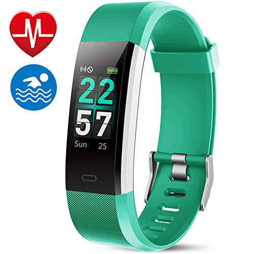 MEBUYZ Fitness Tracker IP68 Waterproof Color Screen Fitness Watch Activity Tracker with Heart Rate Monitor, Calorie Counter for Kids, Men & Women, Green