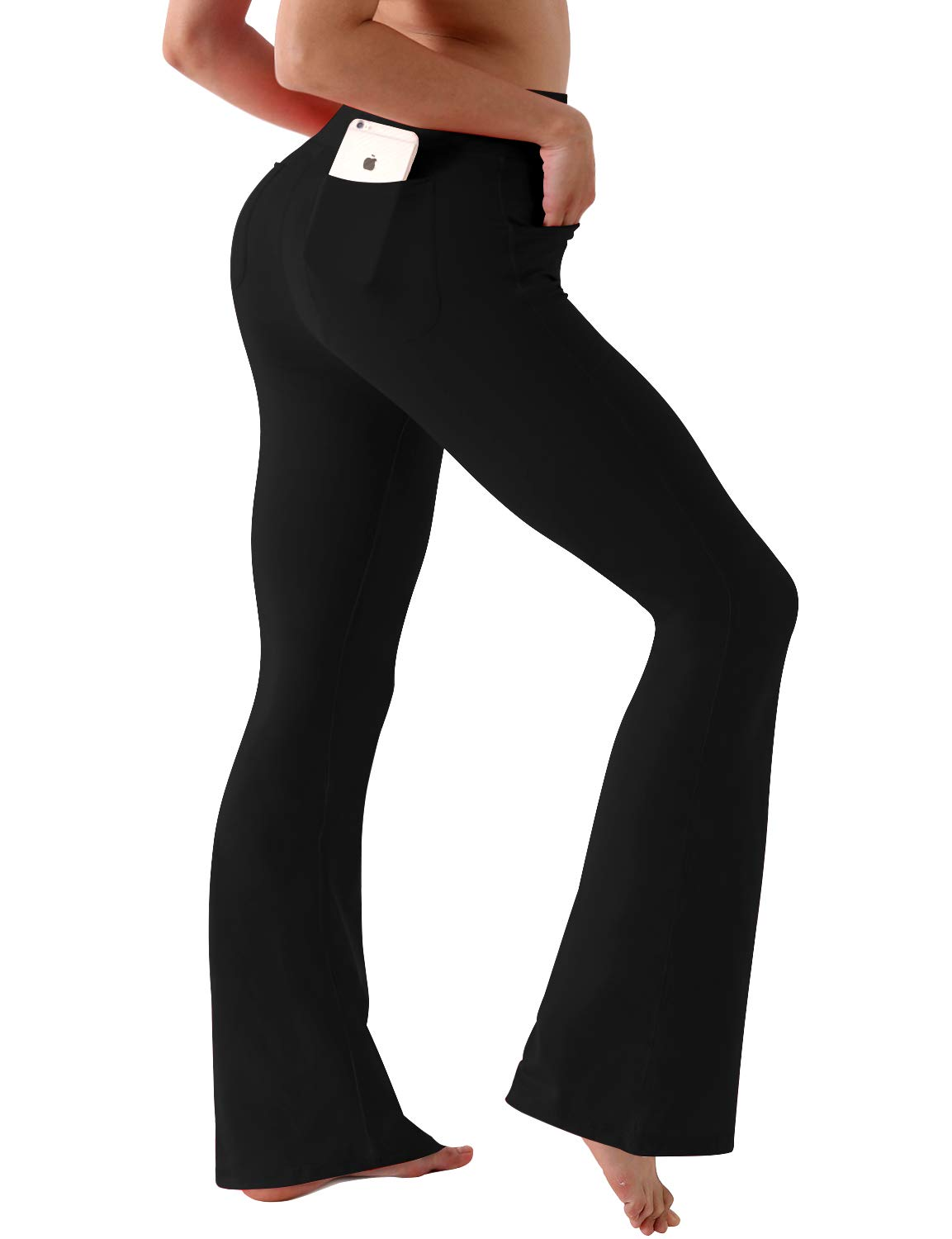 BUBBLELIME Bootleg Yoga Pants Out Pocket High Compression Running Pants High Waist Workout Pants Nylon Span UPF30+, Black (75/25 Ns Out Pockets), Large ( 35''inseam ) by BUBBLELIME