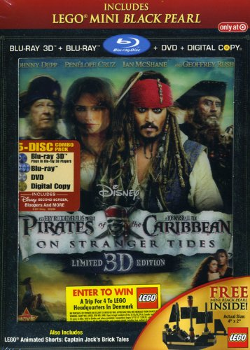 Pirates of the Caribbean On Stranger Tides 5 Disc LIMITED EDITION (Blu-ray 3D, Blu-ray 2 Disc, DVD, Digital Copy) Includes Lego Mini Black Pearl