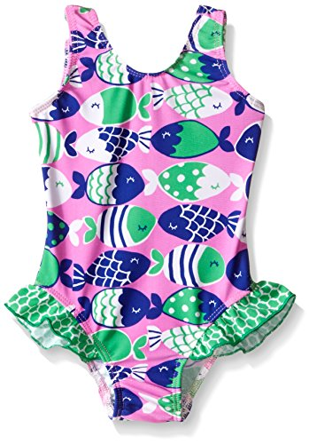 Flap Happy Baby Girls' UPF 50+ Delaney Hip Ruffle Swimsuit , Fish Bliss, 24 Months
