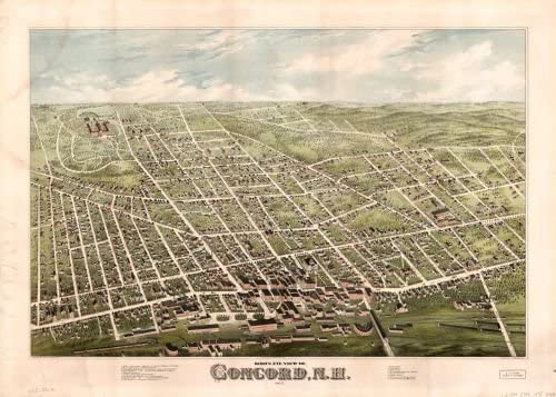 16x24 Bird/'s Eye View 1887 Penacook NH Vintage Style City Map