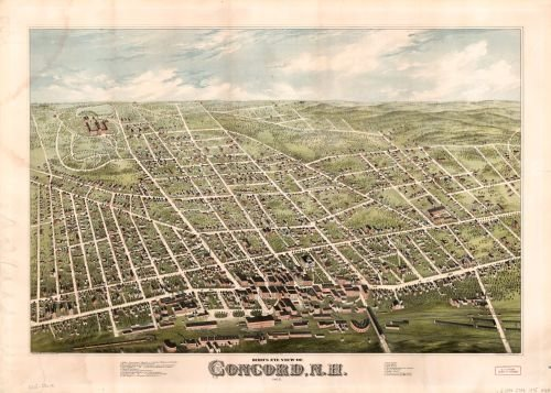 1875 Map Bird's eye view of Concord, N.H. : 1875 - Size: 18x24 - Ready to Frame - Concord | New - Stores Concord Nh