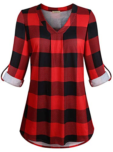 Tunic Tops for Women Plus Size Ladies Red Shirt Oversize Plaid Career Blouses Roll Sleeve Simple Notch Neck Tunics Basic Fashion Henleys Outdoors Work Wear Large ()
