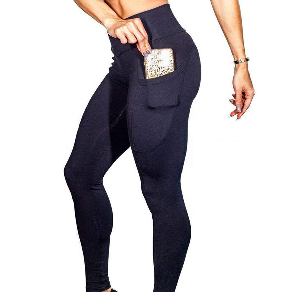 Clearance Womens High Waist Stretch Yoga Leggings Pocket Tummy Control Workout Running Fitness Gym Athletic Pants (Black, Large) by Aritone (Image #1)