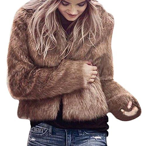 Taore Women's Long Sleeve Parka Outwear Artificial Faux Fox Fur Coat (M, Brown)