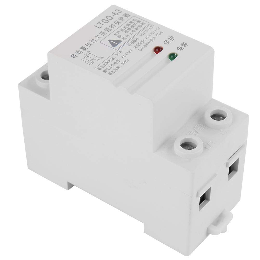 Voltage Protector Relay, Keenso 230V Adjustable Automatic Reconnect Over Voltage And Under Voltage Protection Relay 2P63A Relay Delay Protection Device