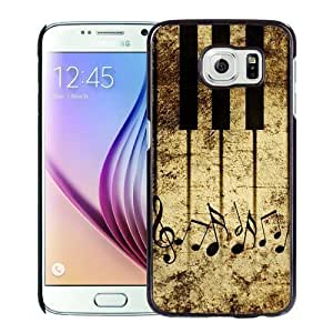 NEW DIY Unique Designed Samsung Galaxy S6 Phone Case For Vintage Piano Keys With Musical Notes Phone Case Cover Kimberly Kurzendoerfer