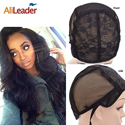 Black Double Lace Wig Caps For Making Wigs Hair Net with Adjustable Straps Swiss Lace from AliLeader (Extra Large)