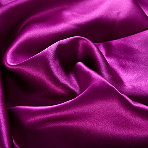 L&M Solid color Silk pieces of four sets 100% Silk Silk Smooth silk Bed sheets quilt 4 sets , purple , 2.0m by WANG (Image #2)