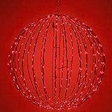 LED Light Ball – Indoor / Outdoor Christmas Light Balls, Light Spheres Outdoor / Sphere Light Fold Flat Metal Frame (16'', Red Frame / Red Lights)